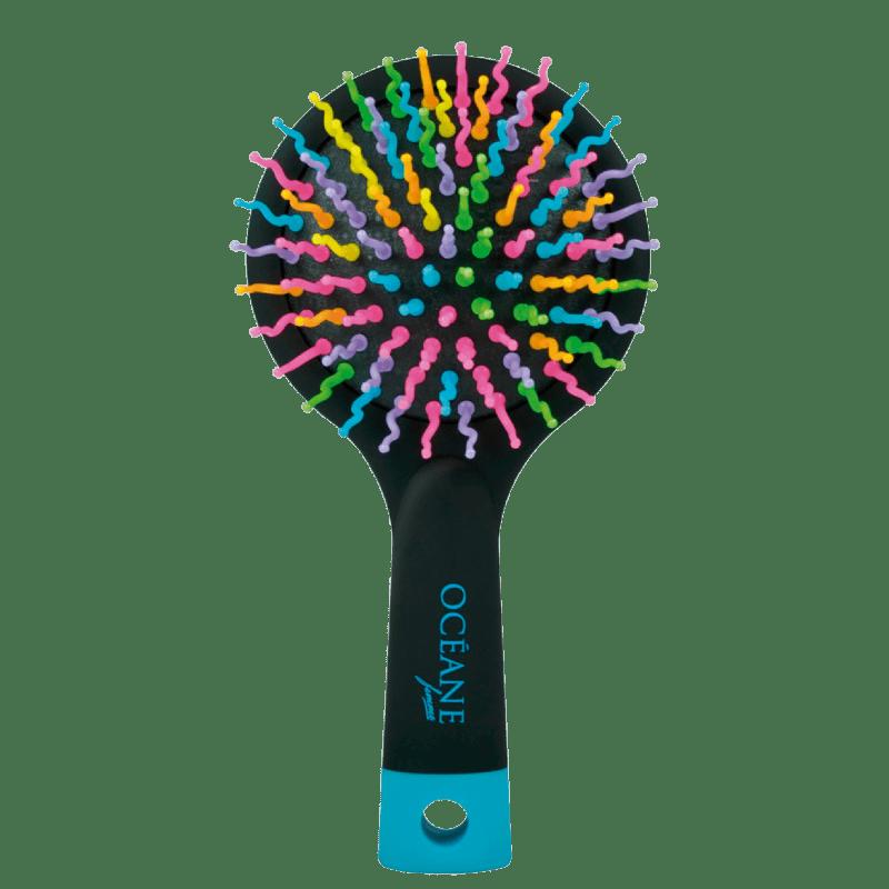 Océane Rainbow Brush Preta - Mini Escova de Cabelo