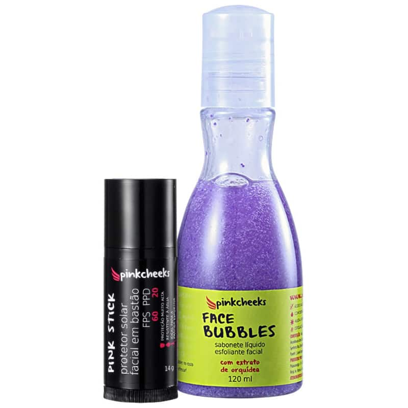 Kit Pink Cheeks Pink Stick Face Bubbles Stick Pele Protegida (2 produtos)