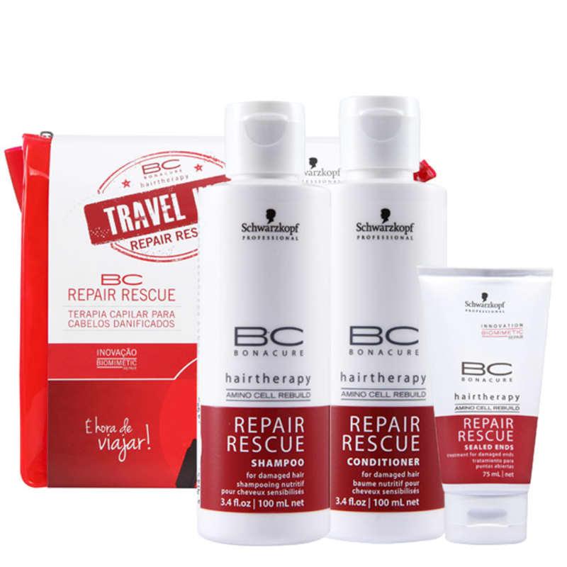Schwarzkopf Professional BC Bonacure Repair Rescue Travel Kit (3 Produtos + Nécessaire)
