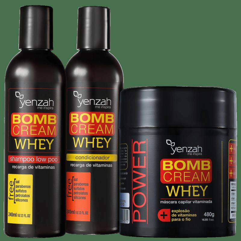 Kit Yenzah Power Whey Bomb Cream Triplo (3 Produtos)