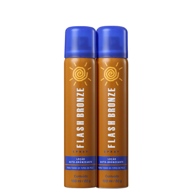 Flash Bronze Loção Auto-Bronzeante Spray – Kit de Autobronzeador 2x100ml