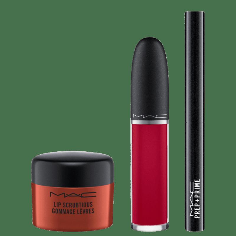 M·A·C Kit Shiny Pretty Things Sweet Scrub Set Red Velvet (3 produtos)