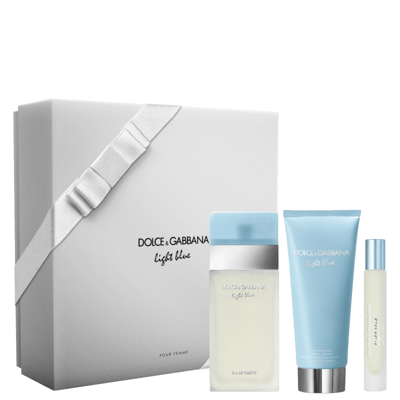 Conjunto Light Blue Trio Dolce & Gabbana Feminino - Eau de Toilette 100ml + Creme Corporal 100ml + Travel Size 7,4ml