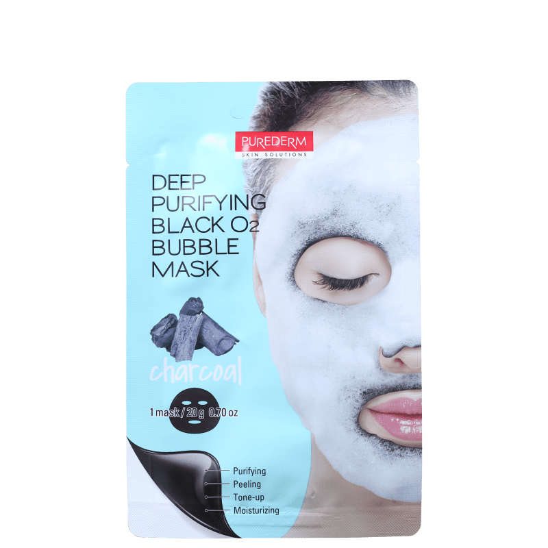 Purederm Deep Purifying Black O2 Bubble - Máscara de Limpeza Facial 20g
