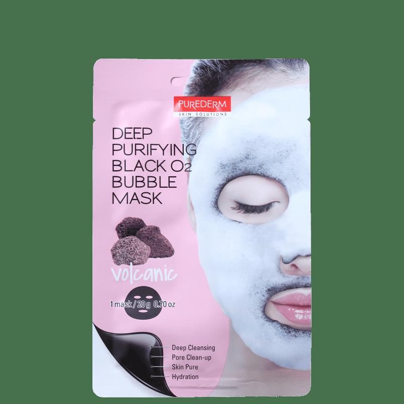 Purederm Deep Purifying Black O2 Volcanic Bubble - Máscara de Limpeza Facial 20g