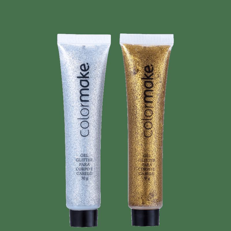 Kit Colormake Gel Glitter Prata e Dourado (2 Produtos)