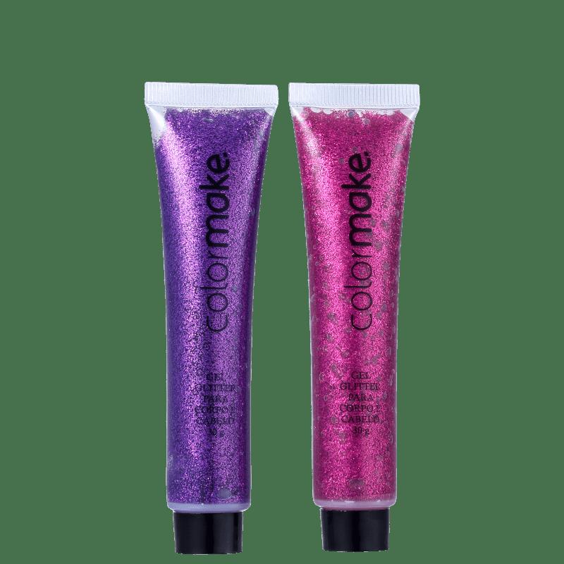 Kit Colormake Gel Glitter Rosa e Roxo (2 Produtos)