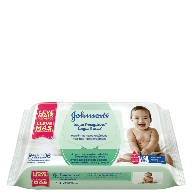 Johnson's Baby Toque Fresquinho - Lenços de Limpeza (96 Unidades)