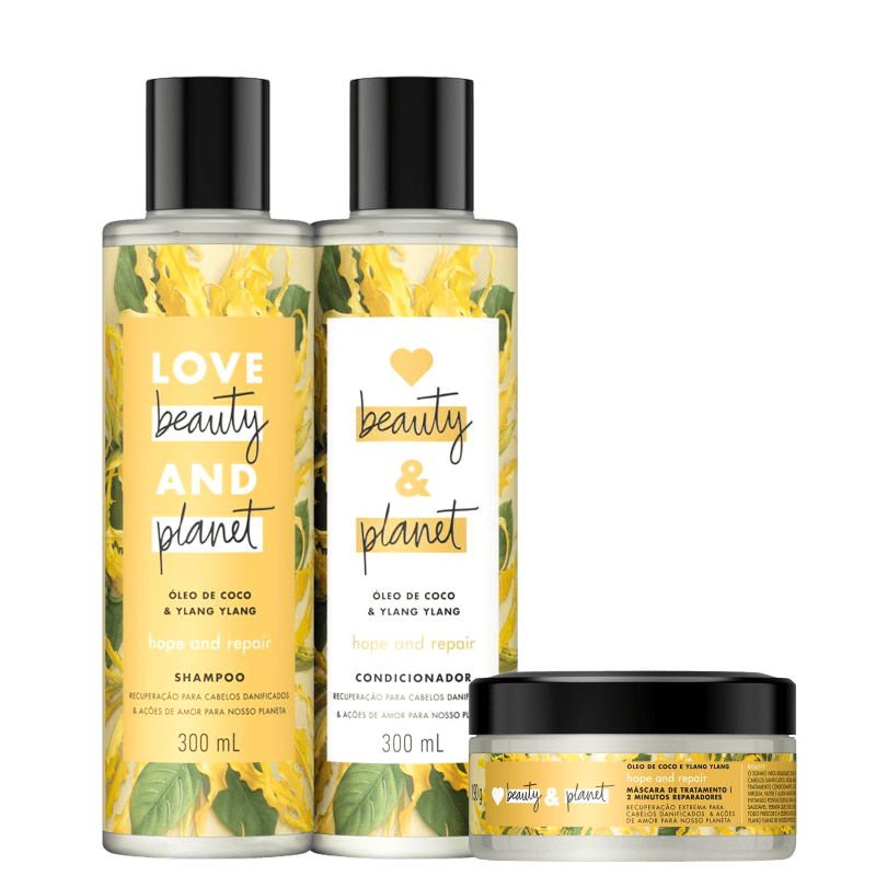 Kit Love, Beauty and Planet - Shampoo + Condicionador + Máscara Hope and Repair
