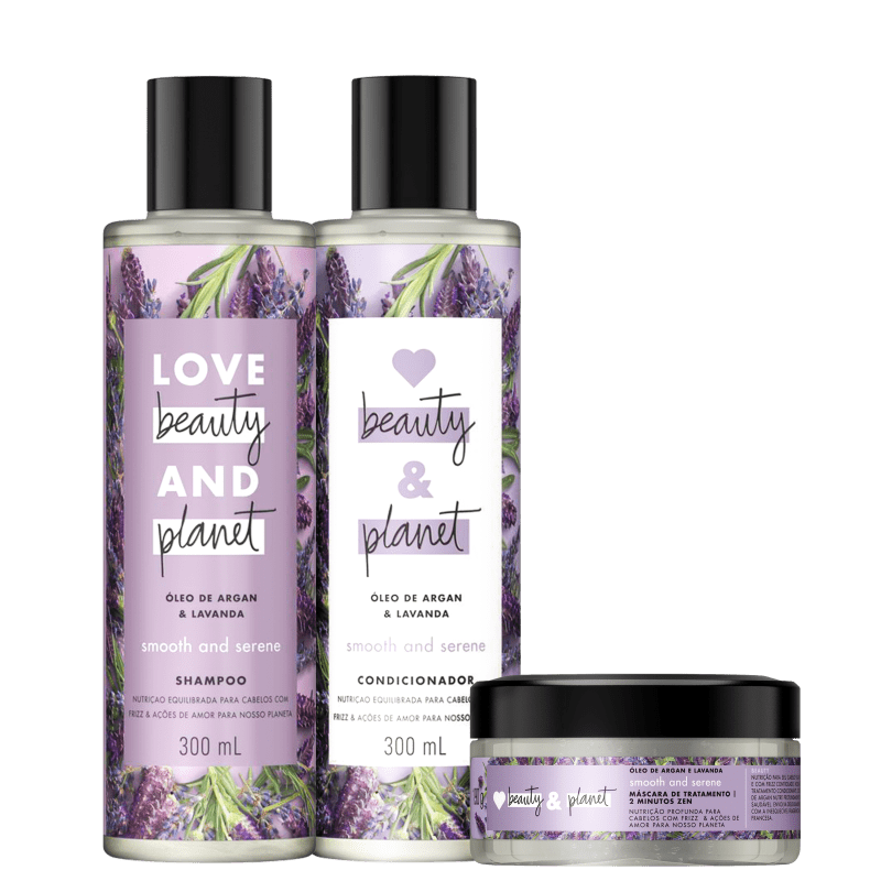 Kit Love, Beauty and Planet - Shampoo + Condicionador + Máscara Smooth and Serene