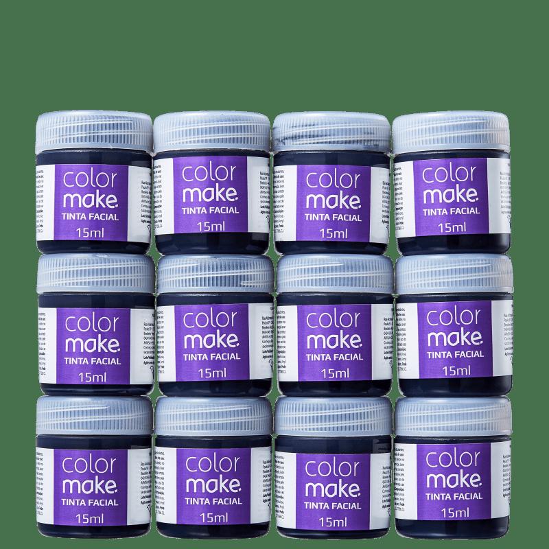 Kit Colormake em Caixa Preto - Tinta Líquida 12x15ml