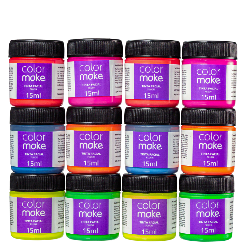 Kit Colormake Fluorescente Cores Sortidas - Tinta Líquida 12x15ml