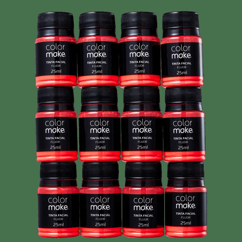 Kit Colormake Fluorescente Vermelho - Tinta Líquida 12x25ml