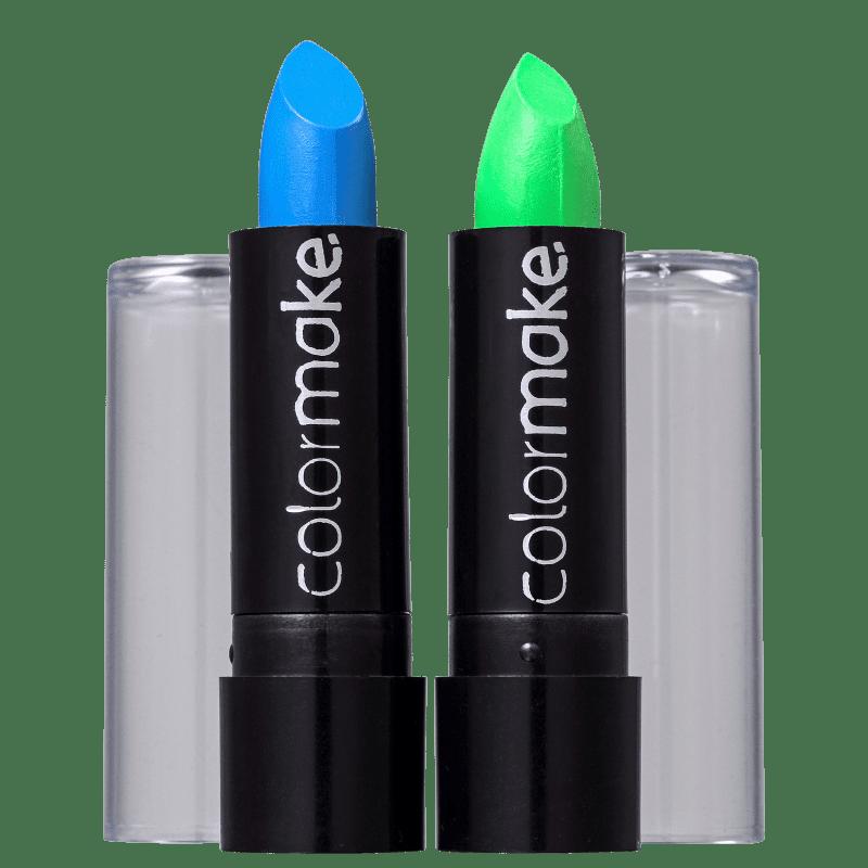 Kit Colormake Batom Fluorescente Azul Verde (2 Unidades)