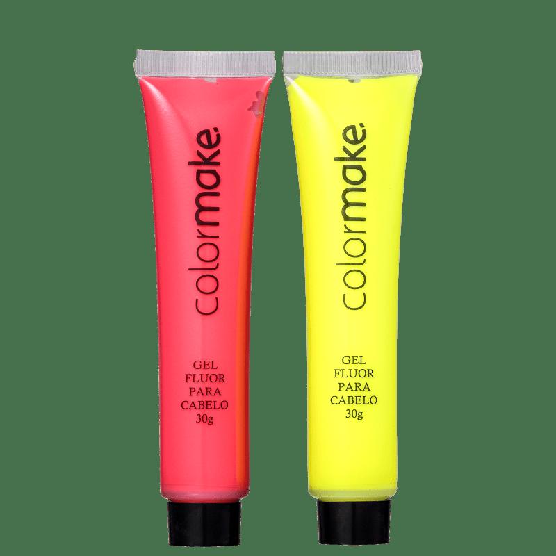 Kit Colormake Gel Fluorescente Amarelo e Vermelho (2 Unidades)