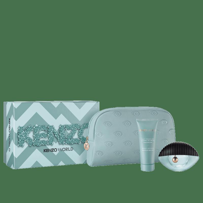 Conjunto Kenzo World Bag Feminino - Eau de Parfum 75ml + Loção Corporal 75ml + Nécessaire