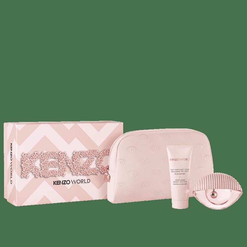 Conjunto Kenzo World Soft Feminino - Eau de Toilette 75ml + Loção Corporal 75ml + Nécessaire