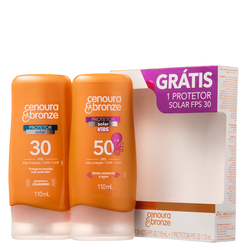 Kit Cenoura & Bronze - Protetor Solar FPS 30 110ml + Protetor Solar Kids FPS 50 110ml