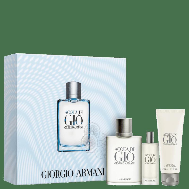 Conjunto Acqua di Giò Homme Trio Giorgio Armani Masculino - Eau de Toilette 100ml + Travel Size 15ml + Gel de Banho 75ml