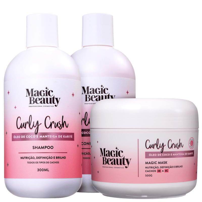 Kit Magic Beauty Curly Crush 3B a 4C Trio (3 Produtos)