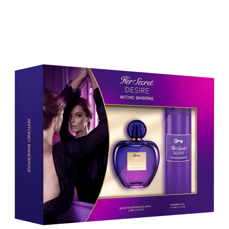 Conjunto Her Secret Desire Antonio Banderas Feminino - Eau de Toilette 80ml + Desodorante 150ml