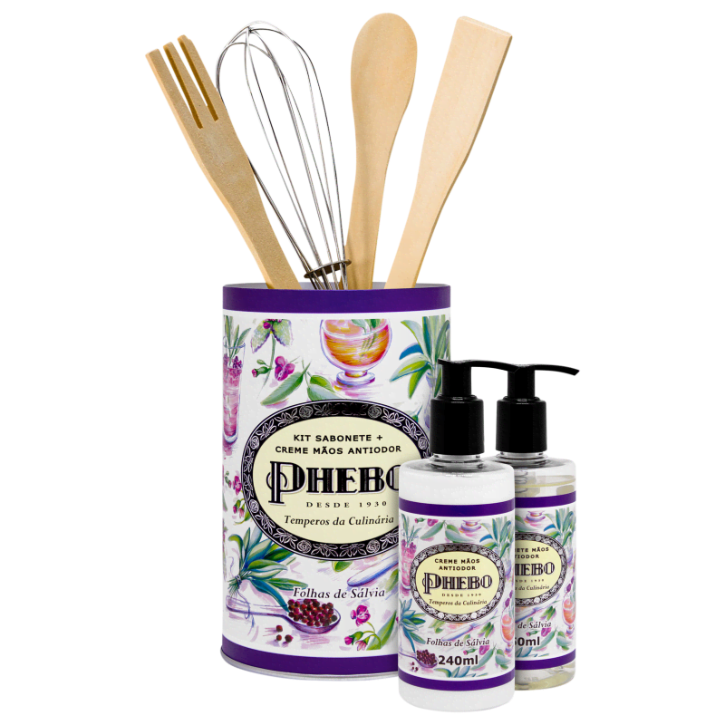 Kit Phebo Temperos da Culinária Folhas de Sálvia - Sabonete Líquido 250ml + Creme Hidratante para as Mãos 240ml