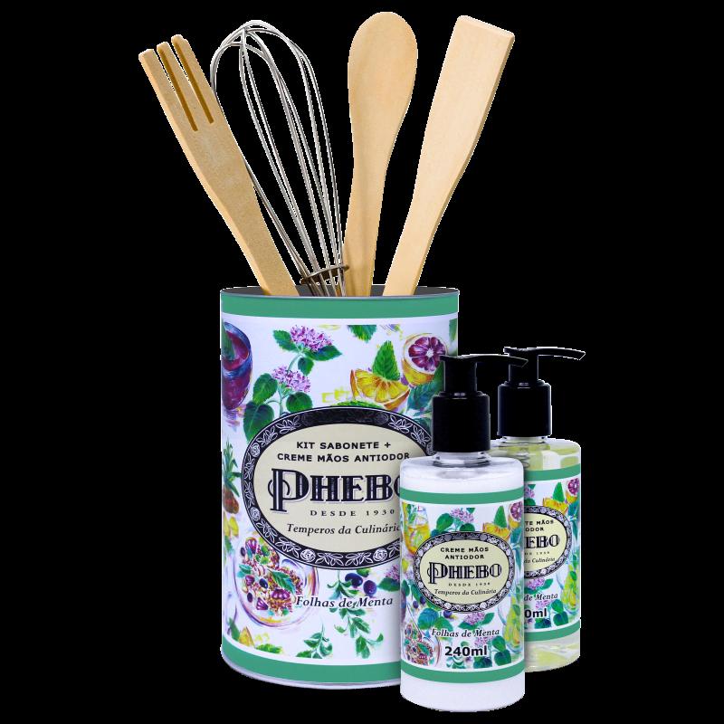 Kit Phebo Temperos da Culinária Folhas de Menta - Sabonete Líquido 250ml + Creme Hidratante para as Mãos 240ml