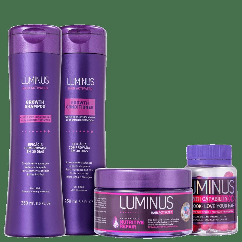 Kit Luminus Growth Daily Cabelo Seco (4 Produtos)