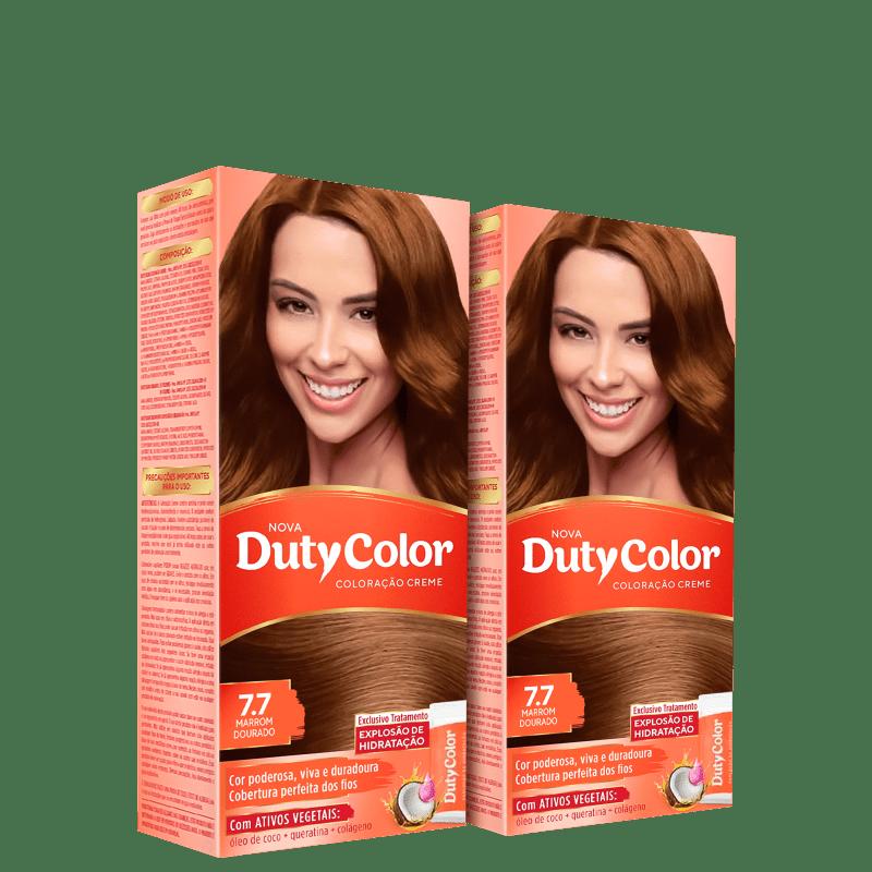 Kit DutyColor 7.7 Marrom Dourado Duo - Coloração Permanente (2 Unidades)