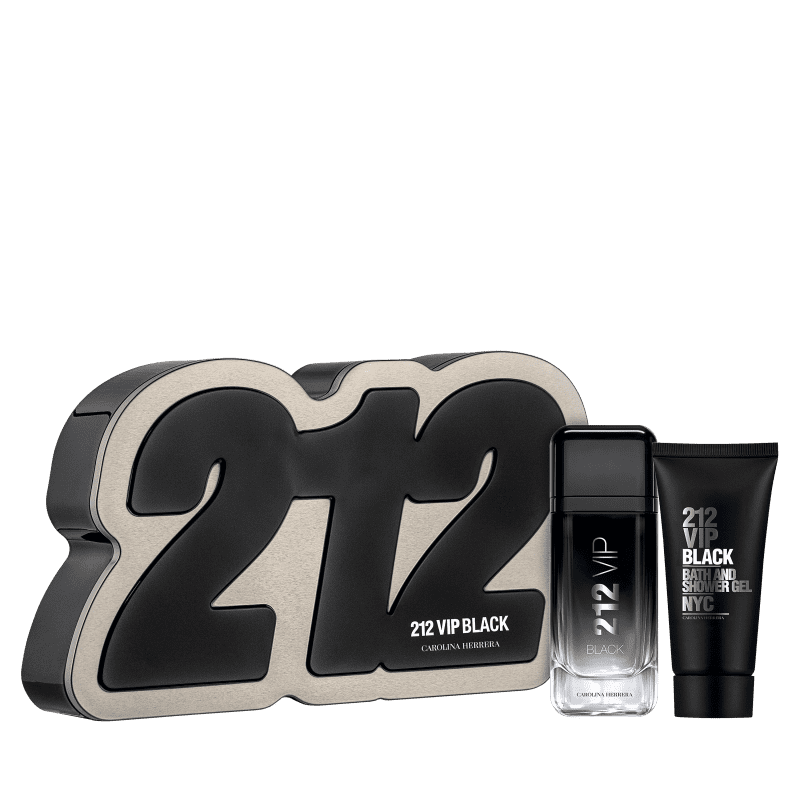 Conjunto 212 VIP Black Box Carolina Herrera Masculino - Eau de Parfum 100ml + Gel de Banho 100ml