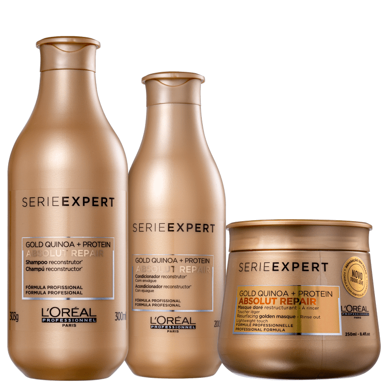 Kit L'Oréal Professionnel Serie Expert Absolut Repair Gold Quinoa + Protein Golden Trio (3 Produtos)