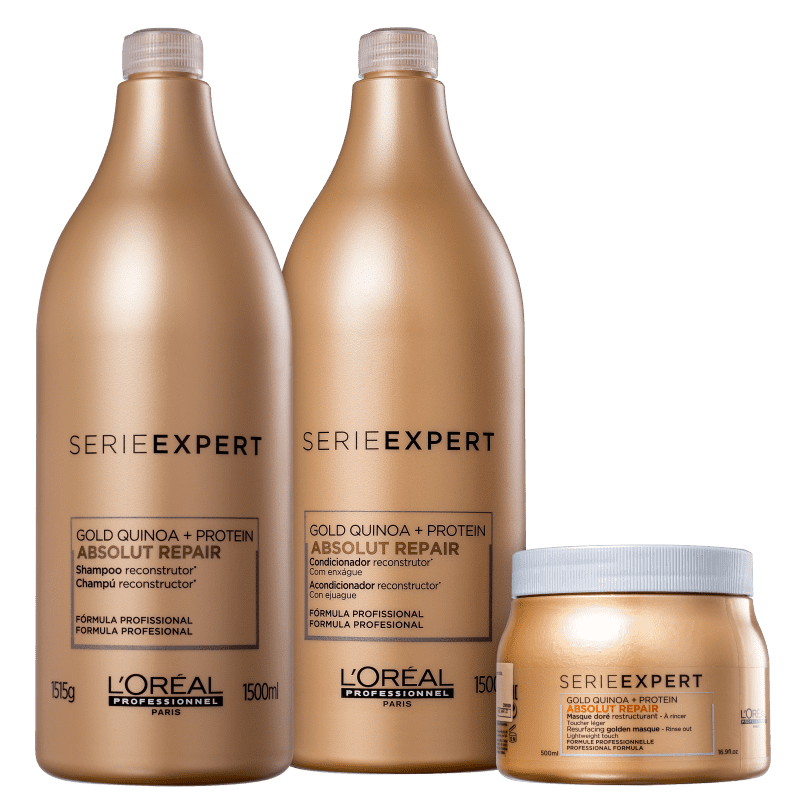 Kit L'Oréal Professionnel Serie Expert Absolut Repair Gold Quinoa + Protein Golden Salon Trio (3 Produtos)
