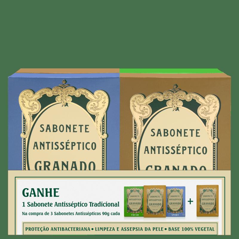 Kit Granado Tradicional Antisséptico - Sabonete em Barra 4X90g