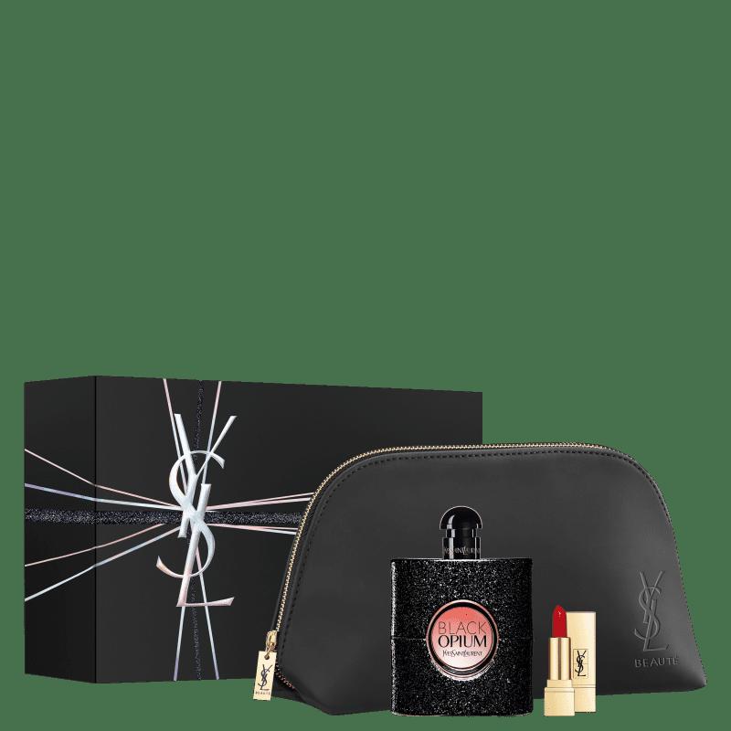 Conjunto Yves Saint Laurent Black Opium - Eau de Parfum 90ml + Mini Batom + Bolsa