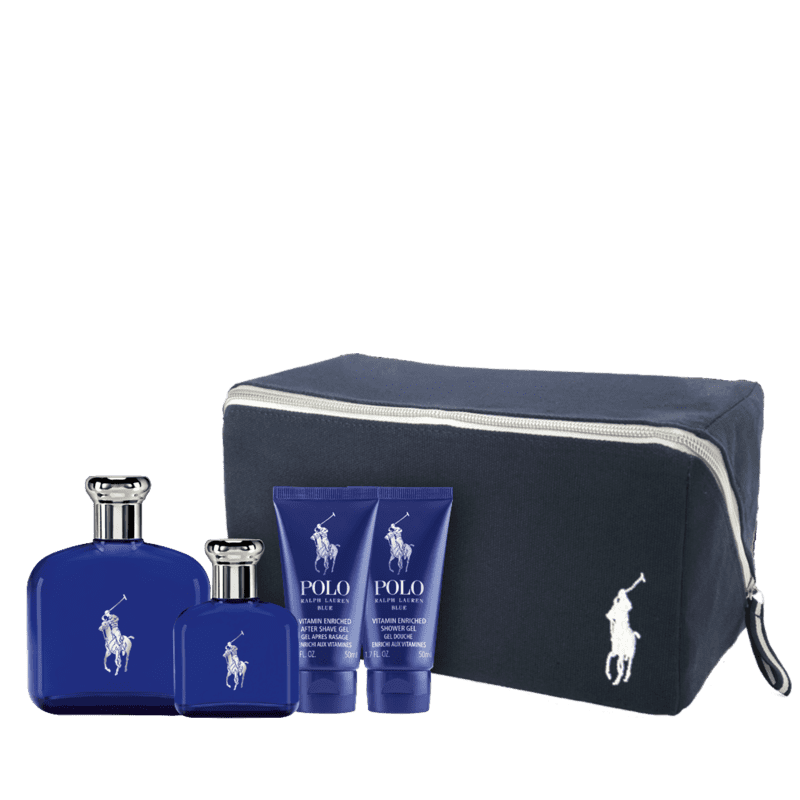 Kit Ralph Lauren Polo Blue Premium Eau de Toilette 125ml + Eau de Toilette 40ml + Gel de Banho 50ml + Pós-Barba 50ml