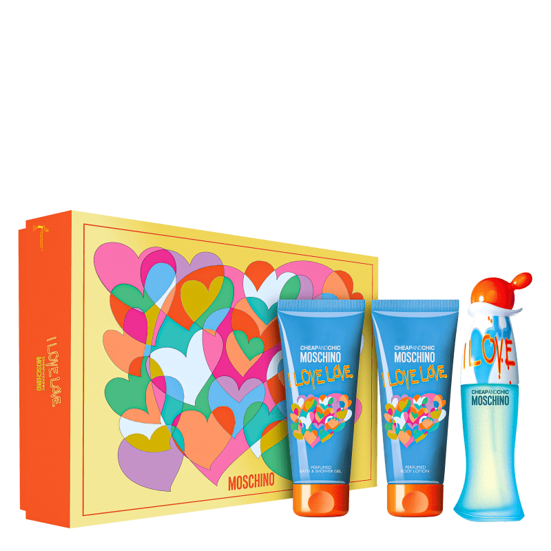 Conjunto Moschino Cheap & Chic I Love Love Feminino - Eau de Toilette 50ml + Loção Corporal 100ml e Gel de Banho 100ml