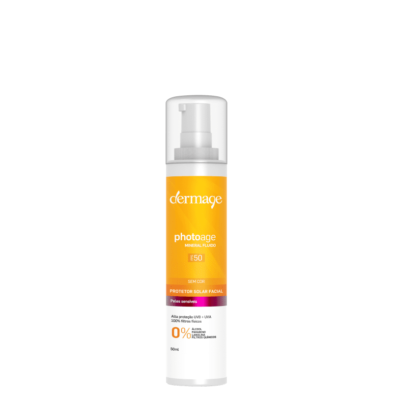 Dermage Photoage Mineral Fluid Sem Cor FPS 50 - Protetor Solar Facial 50ml