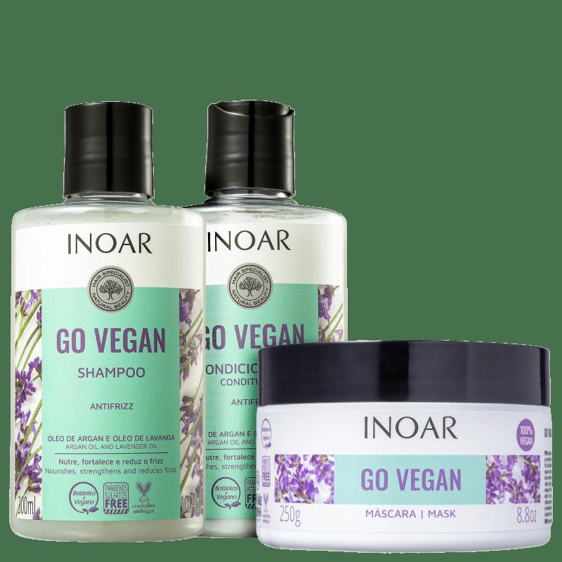 Kit Inoar Go Vegan Antifrizz Completo (3 Produtos)