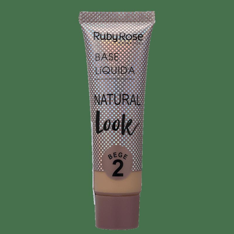 Ruby Rose Natural Look Bege 2 - Base Líquida 29ml