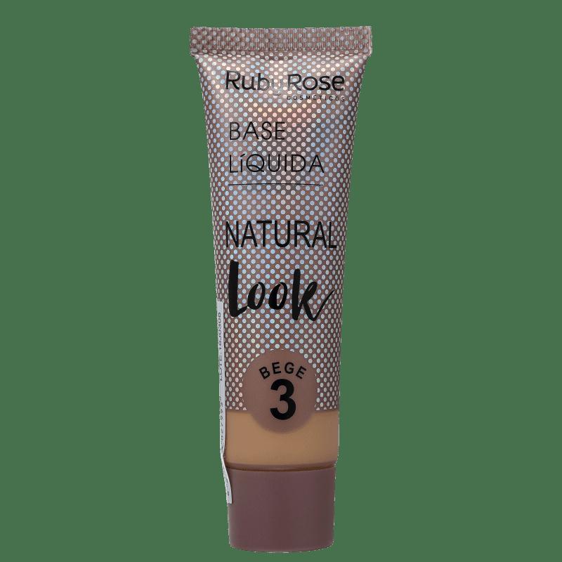 Ruby Rose Natural Look Bege 3 - Base Líquida 29ml
