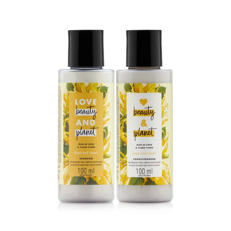 Kit Love, Beauty and Planet - Shampoo + Condicionador 100ml Hope and Repair