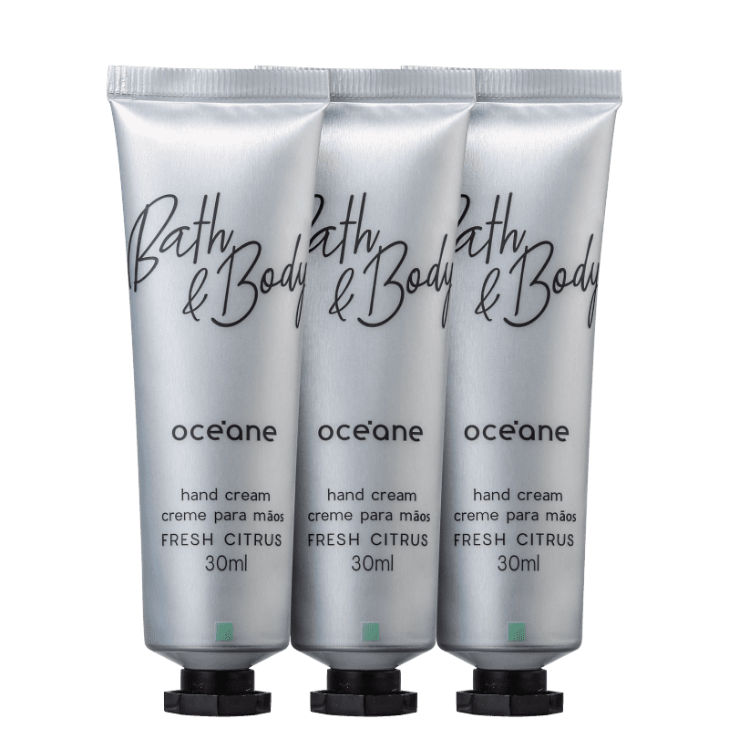 Kit Océane Bath & Body Fresh Citrus - Creme Hidratante para Mãos 3x30ml