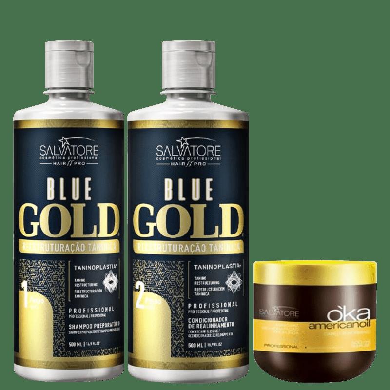 Kit Salvatore Blue Gold Reestruturação Tanínica + O'ka (3 Produtos)