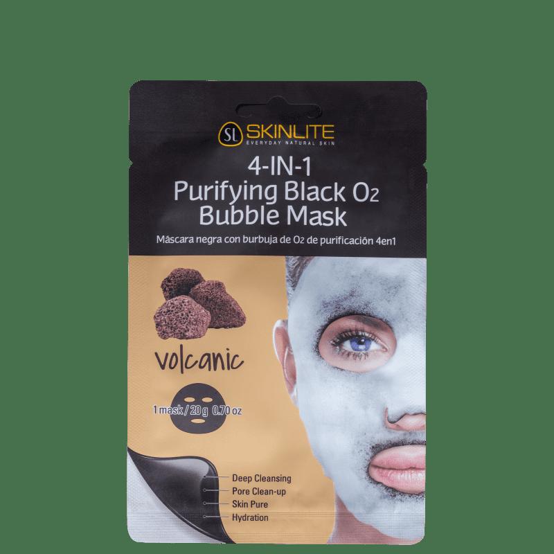 Skinlite Vulcânica 4 em 1 Purificante Preta com Bolhas de Oxigênio - Máscara Facial 23g