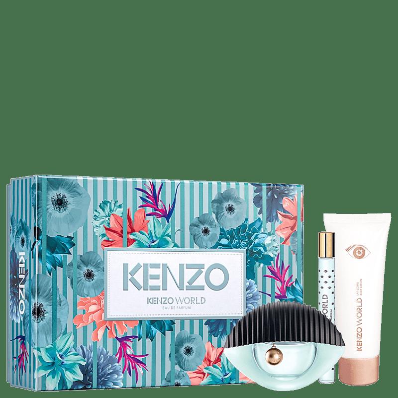 Conjunto Kenzo World Feminino - Eau de Parfum 75ml + Eau de Parfum 10ml + Hidratante Corporal 75ml