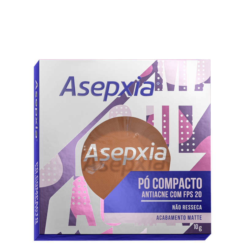 Asepxia Antiacne FPS 20 Bege Marrom - Pó Compacto 10g