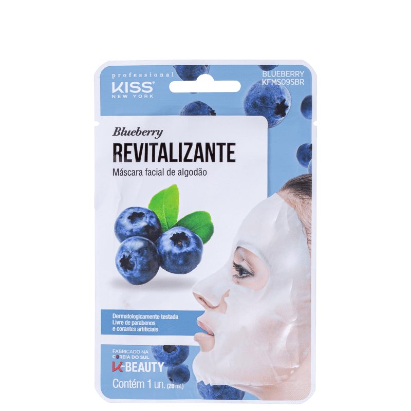 Kiss New York Blueberry Revitalizante - Máscara Facial 20ml
