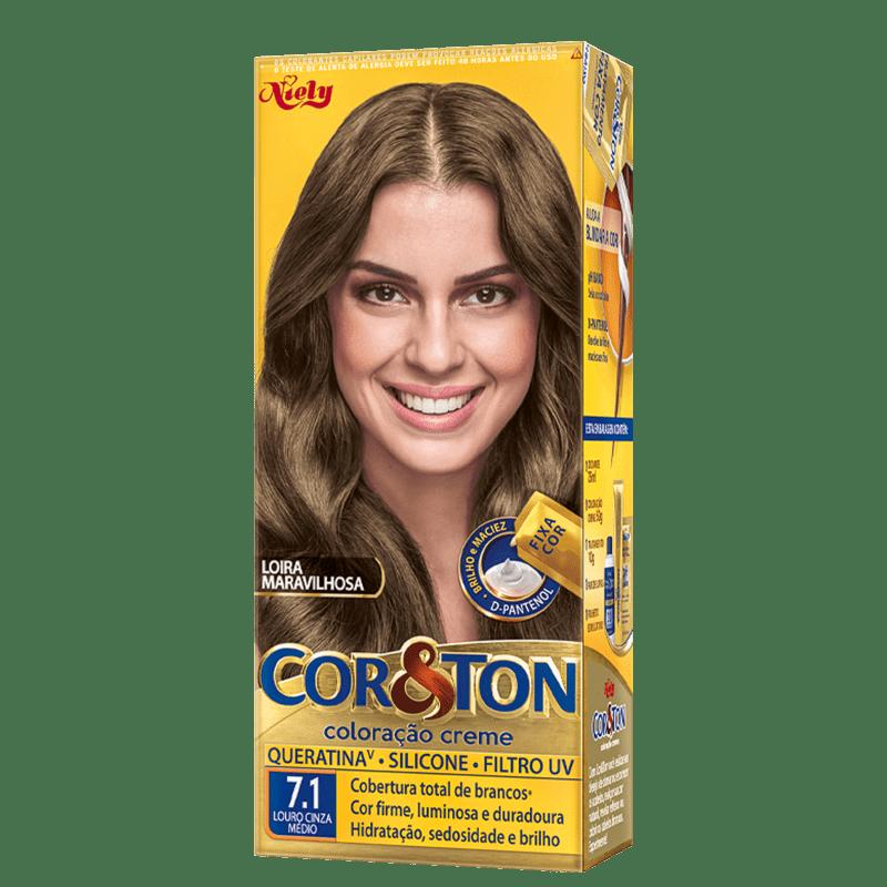 Niely Cosméticos Cor & Ton 7.1 Louro Médio Cinza - Coloração Permanente