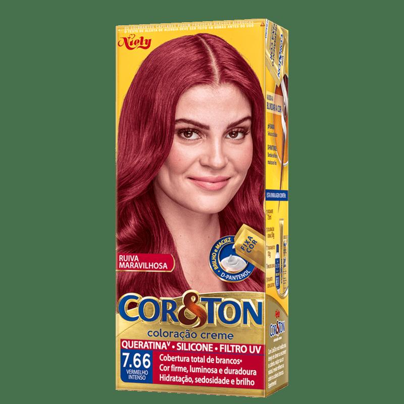 Niely Cosméticos Cor & Ton 7.66 Vermelho Intenso - Coloração Permanente
