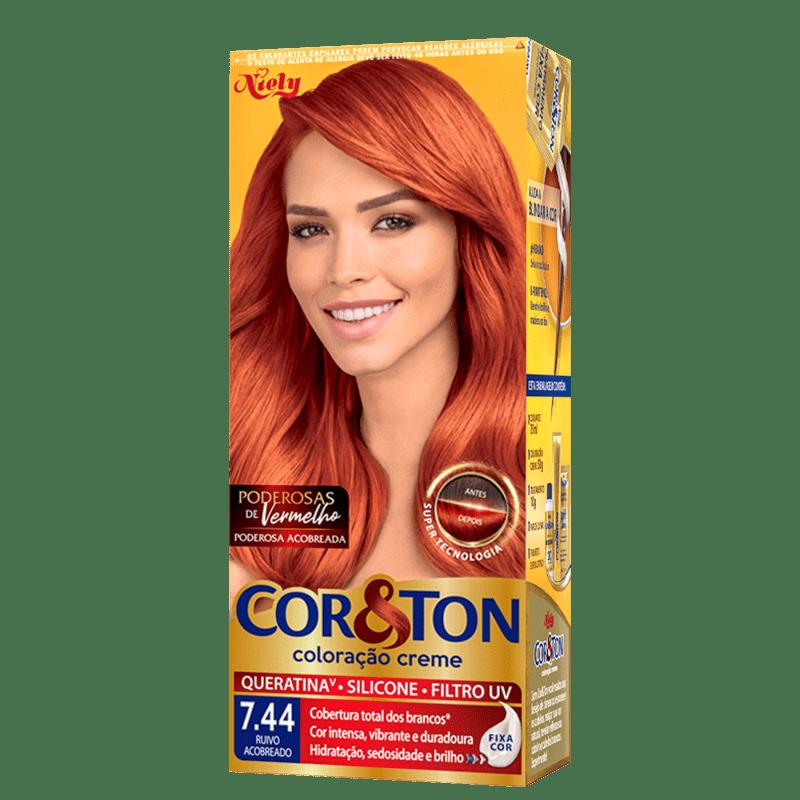 Niely Cosméticos Cor & Ton 7.44 Ruivo Acobreado - Coloração Permanente